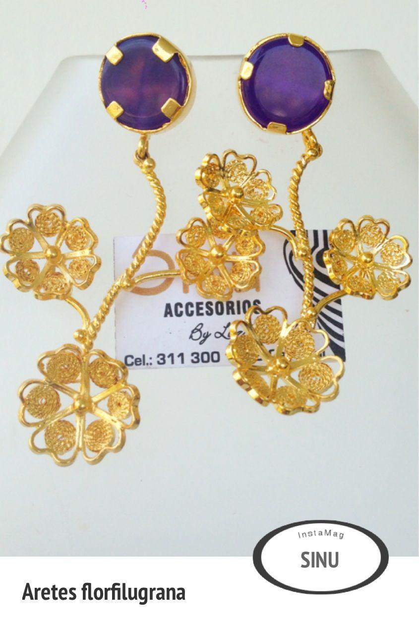 Aretes flor filigrana bronce con ba o de oro sinu for Accesorios bano bronce