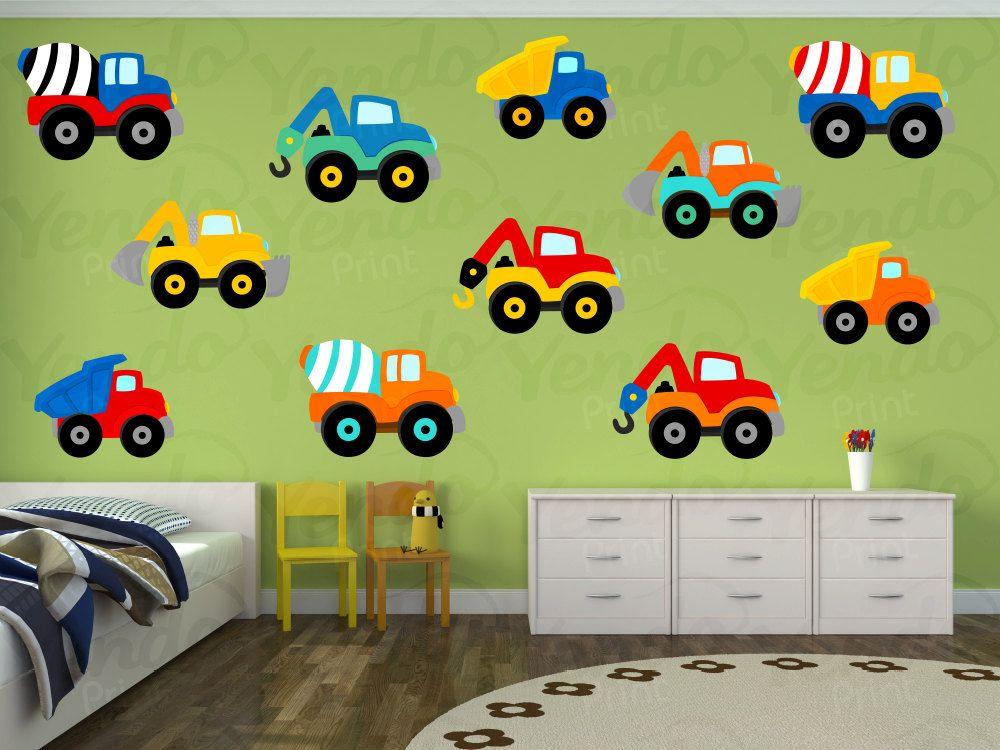 construction truck decal - truck wall decal - fabric wall art
