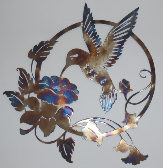 Hummingbird And Flower Metal Sign Heat Colored Wall Decor Hummingbird Wall Art Metal Flower Art Metal Wall Art Uk