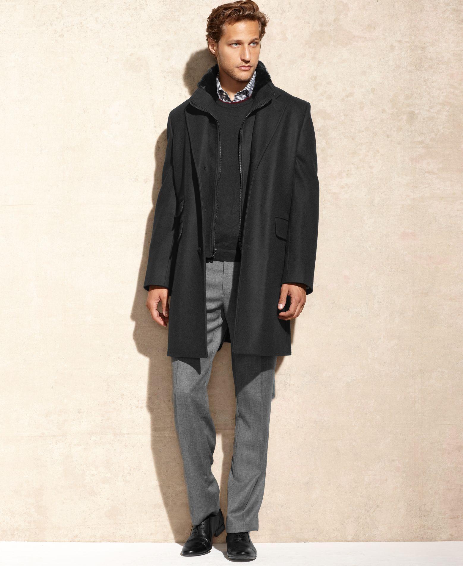 Michael Michael Kors Wool-Blend with Faux Fur Trim Overcoat