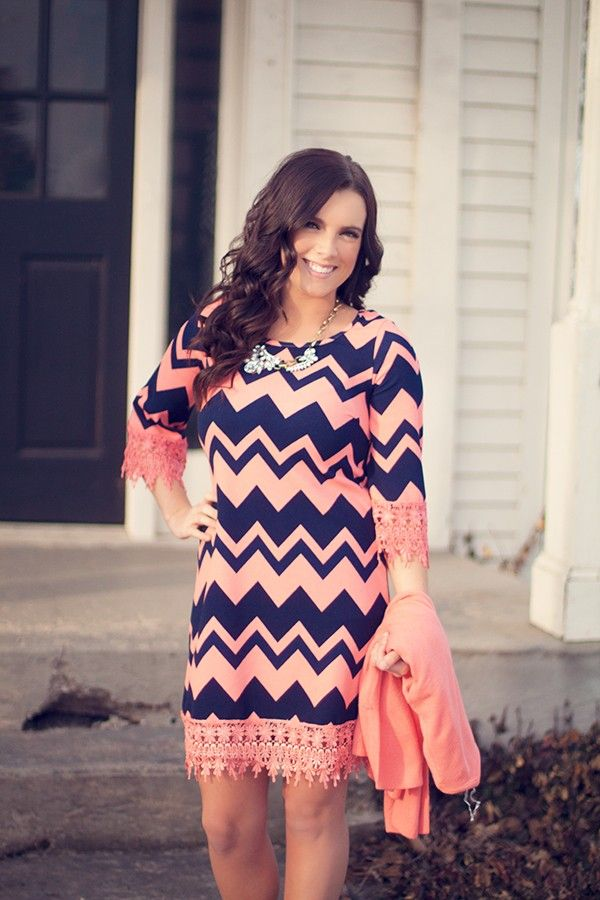 Twilight Descends Chevron Dress in Coral | Styling Inspiration ...