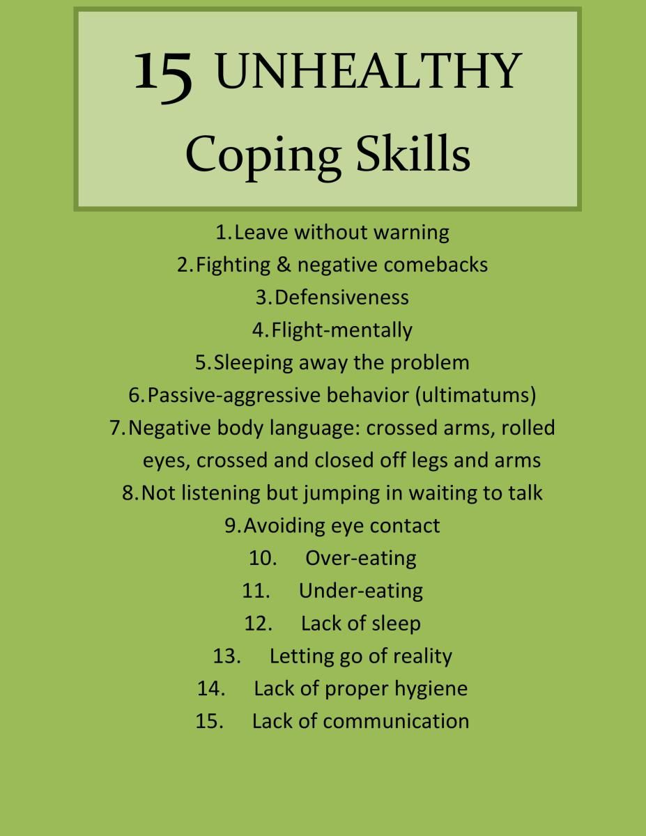 different types of coping skills self soothing distraction 15 unhealthy coping skills part i