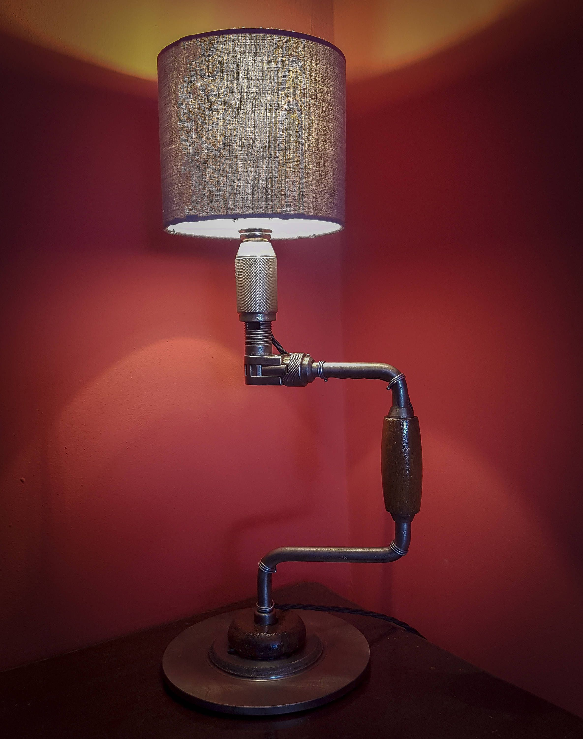Vintage Industrial Lamp Made From Upcycled Brace Drill And Brake