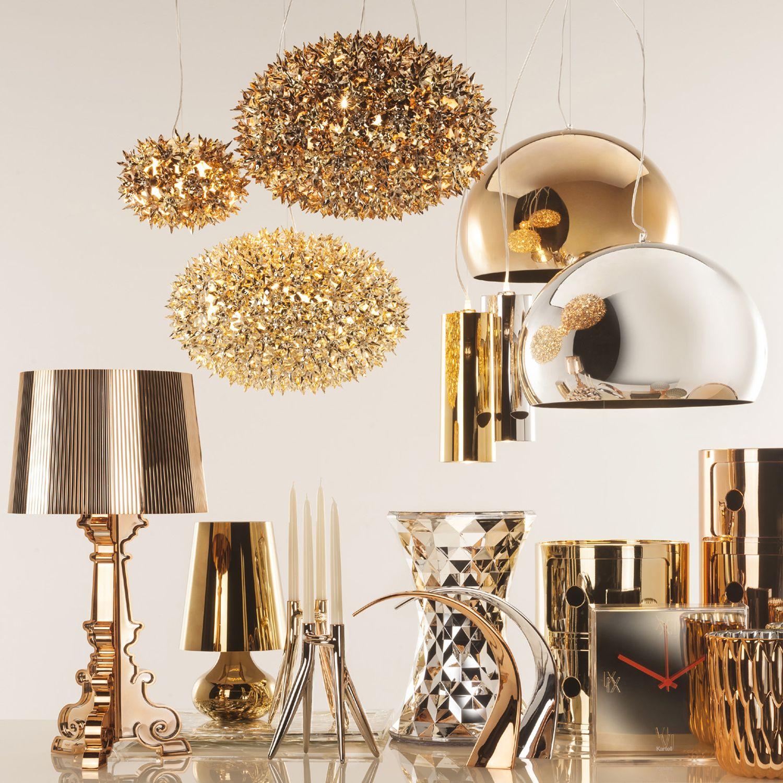 bloom pendant light in gold by kartell battery ferruccio laviani wireless