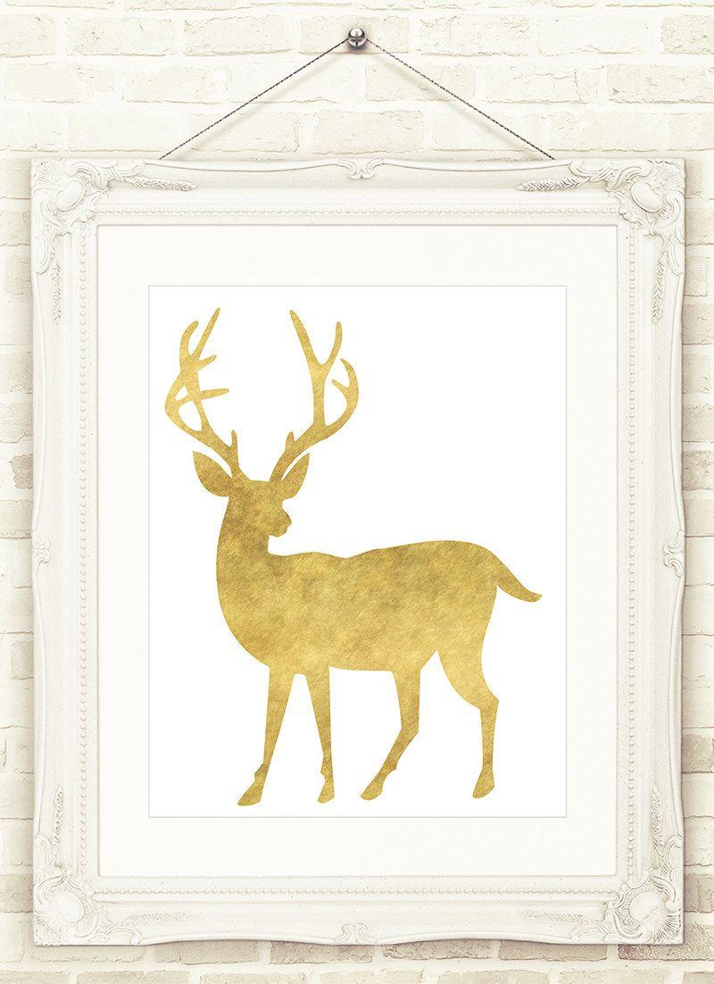 Gold Deer Printable Wall Art, INSTANT DOWNLOAD Printable wall art ...
