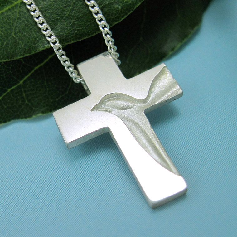 Silver dove cross holy spirit cross necklace peace dove cross silver dove cross holy spirit cross necklace peace dove cross pendant with chain spiritus jewelry aloadofball Images