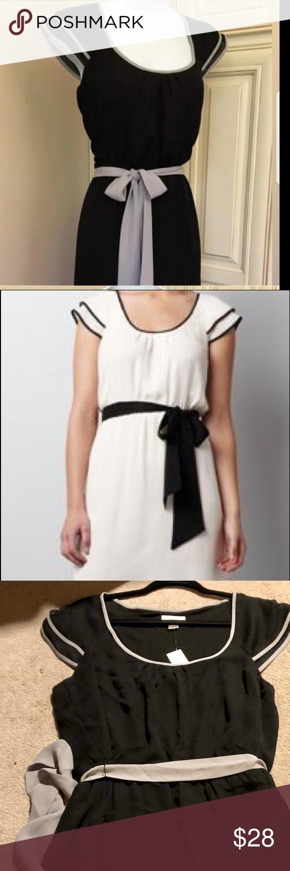 NWT LOFT flutter sleeve dress 14 NWT attached black