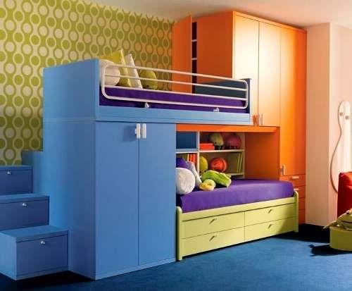 Recamara litera cama alta con ropero escritorio mn4 for Roperos para dormitorios en lima