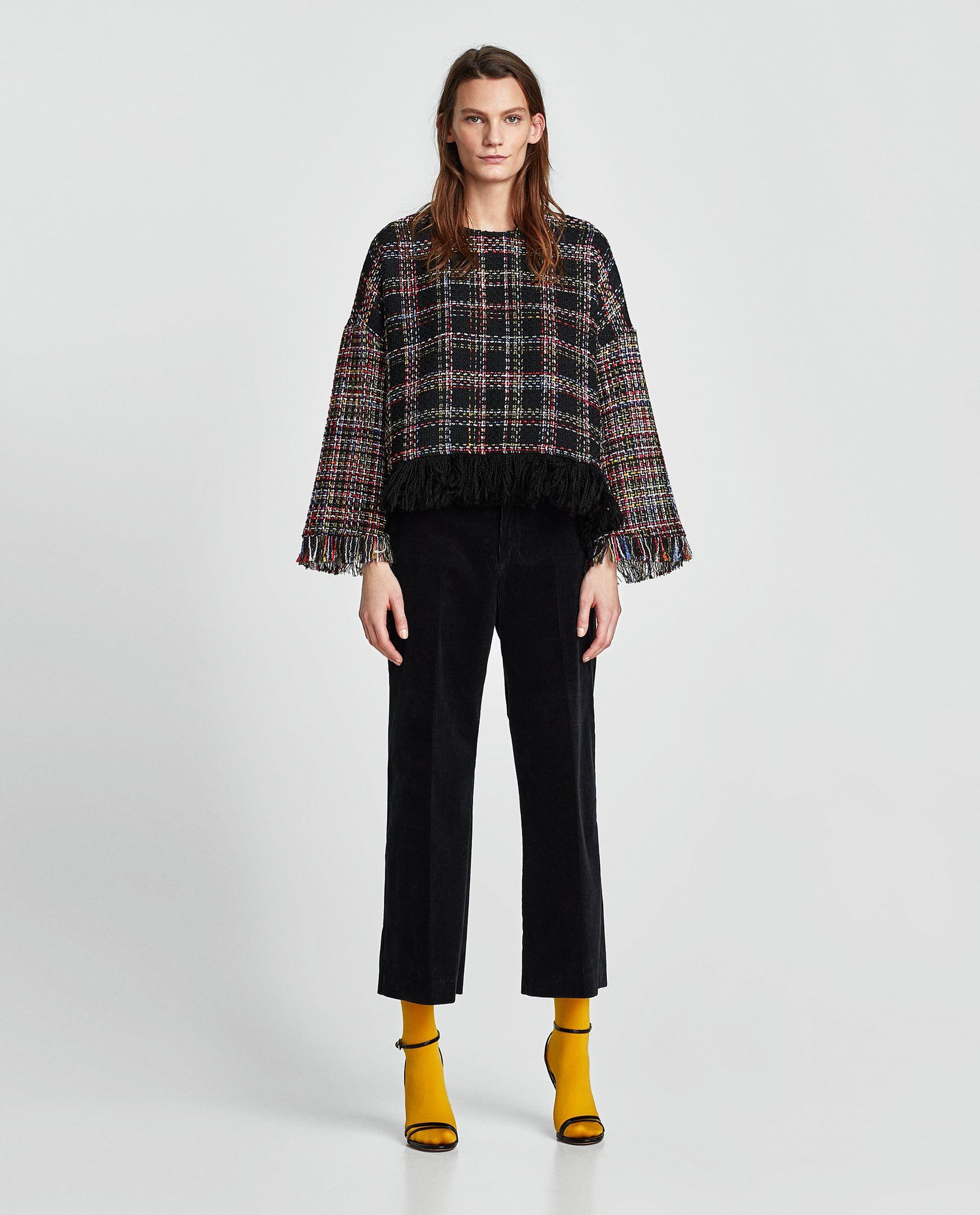 2262e8c1e03b32 FRINGED TWEED TOP | my style | Shirt blouses, Shirts, Blouse
