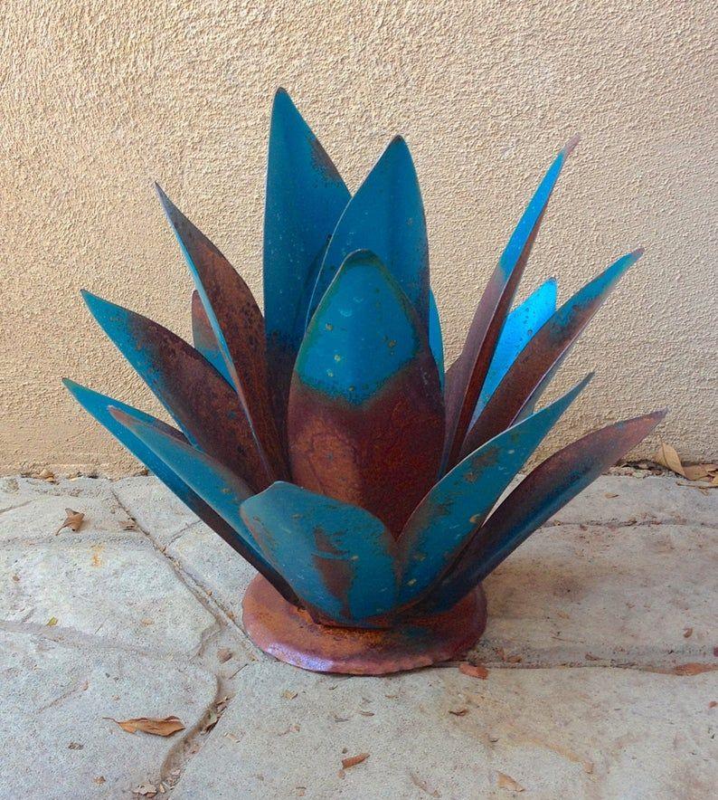 Blue baby tequila agave metal yard art metal garden etsy