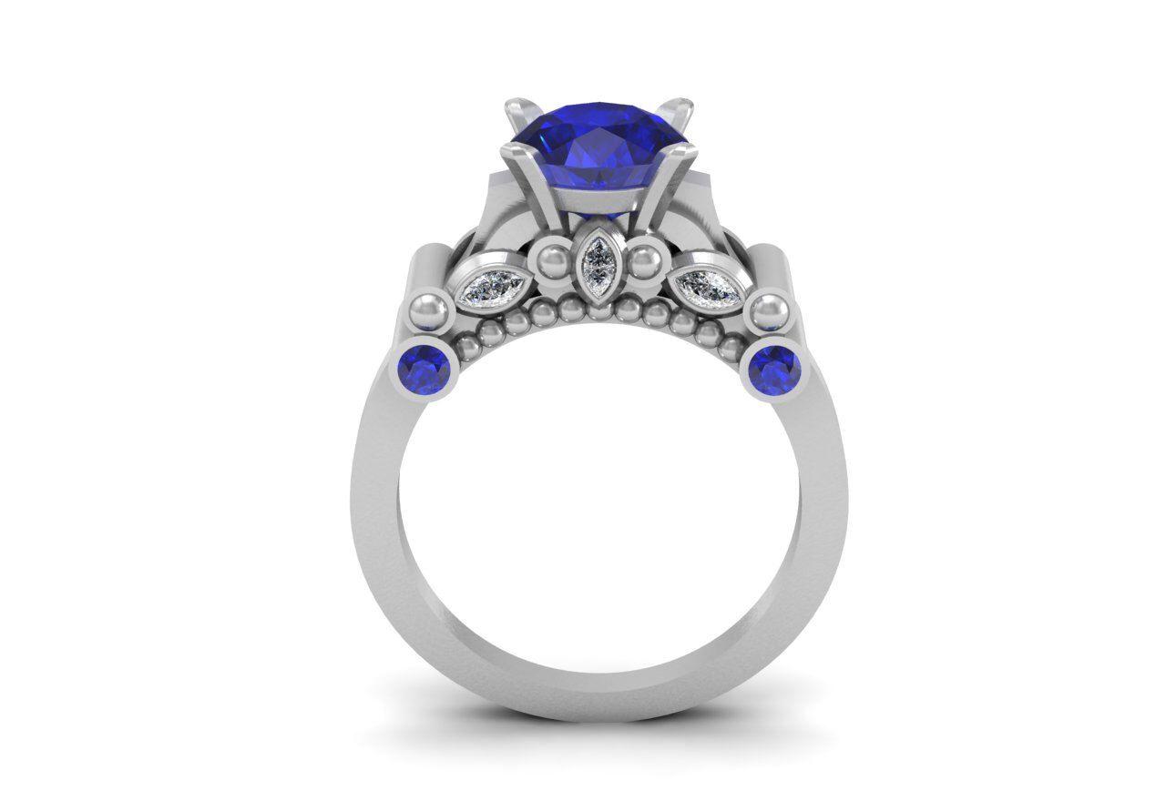 Luxurious Love Inspired 14k White Gold Modern Ring for Women with Diamonds and Blue SapphiresItem# WR- 0804 by VOLISA on Etsy https://www.etsy.com/listing/186618972/luxurious-love-inspired-14k-white-gold