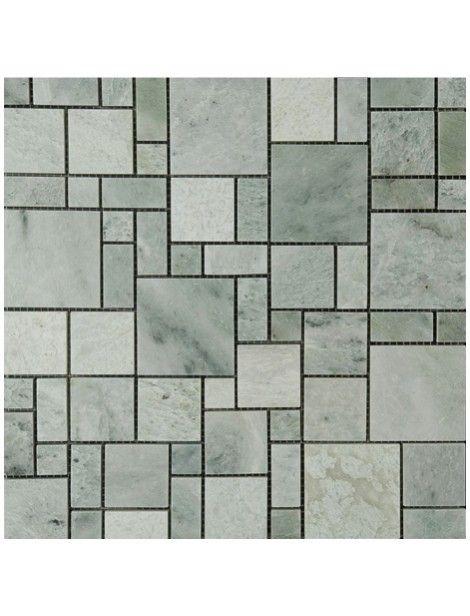 12x12 Versailles Pattern Pattern Ming Green Marble Polished Mosaic Tile Green Mosaic Tiles Green Marble Mosaic Tiles
