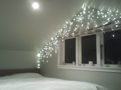 Fairy light bedroom tumblr with triangle form for - Fairy lights in room ...