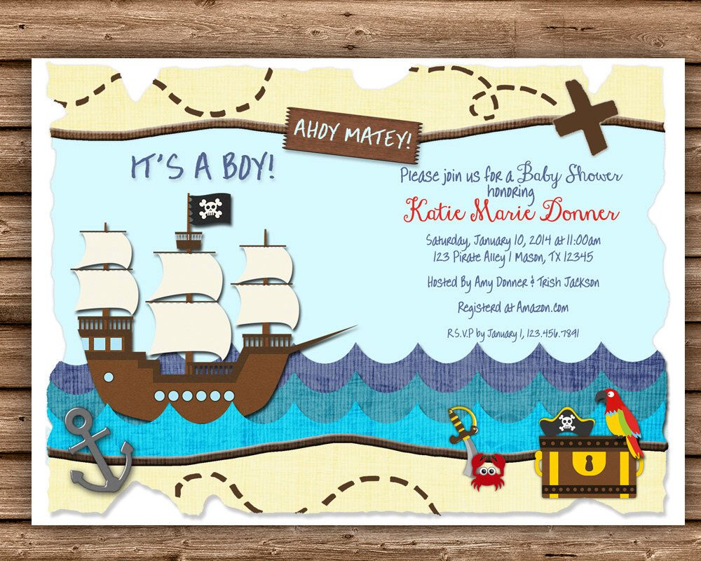 Ahoy Baby Shower Invitation - Pirate Baby Shower - Ahoy Baby Shower ...