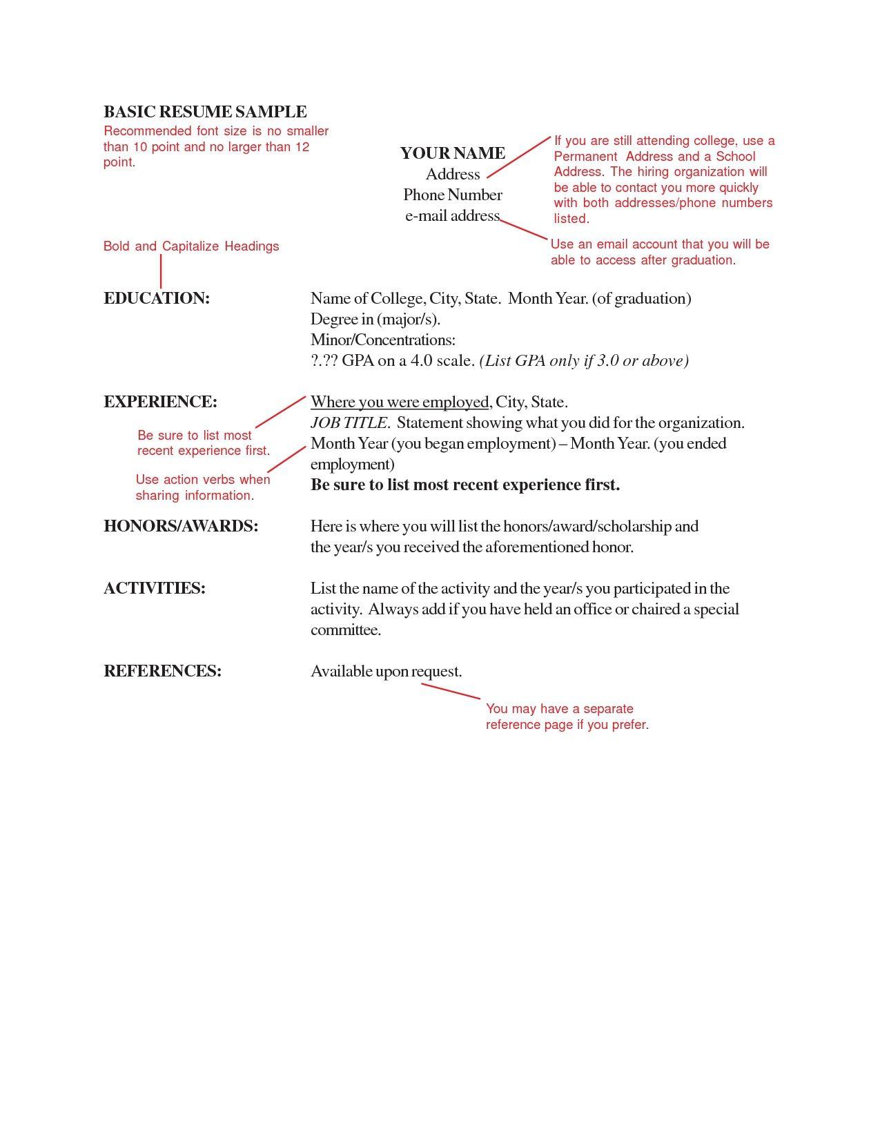 Letter Size Resume fonts, Resume design, Basic resume