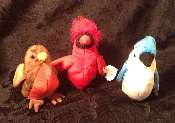 d671c5e3dad NWT LOT of 3 TY Beanie Babies BIRDS MAC EARLY ROCKET RETIRED Baby Cardinal  Robin  Ty