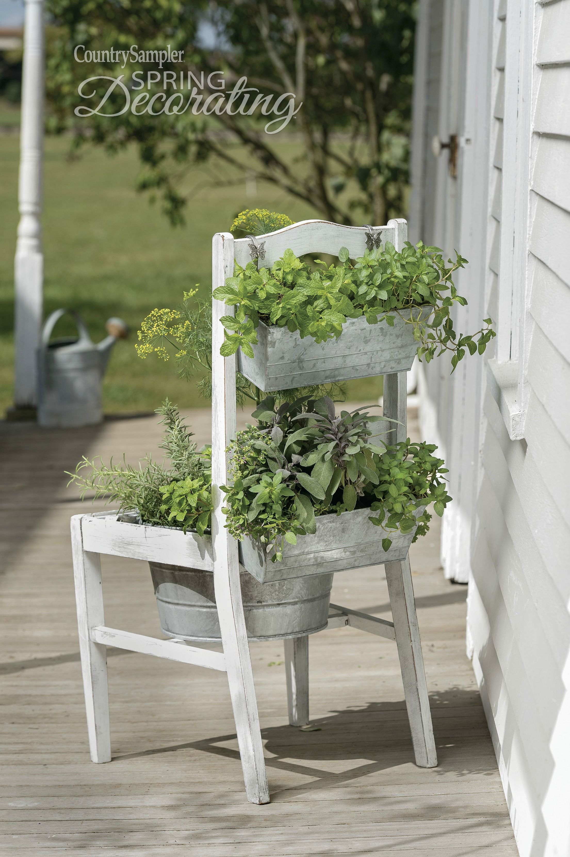 Reinvent An Old Chair As A Stand Up Herb Planter With The Use Of A Galvanized Tub And Planters Herb Planters Rustic Planters Garden Chairs Design