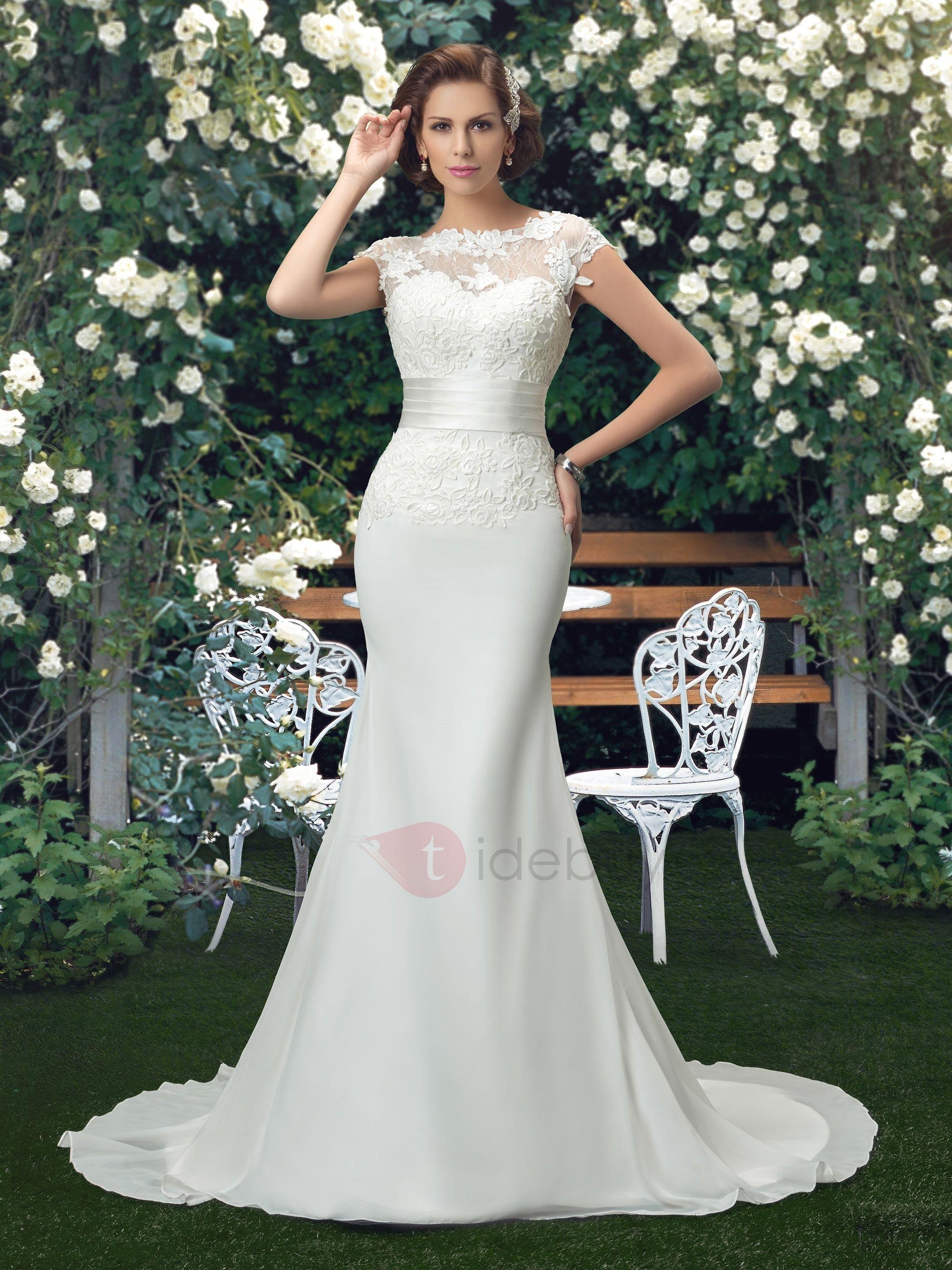 Lace appliques flowers cap sleeve mermaid wedding dress mermaid