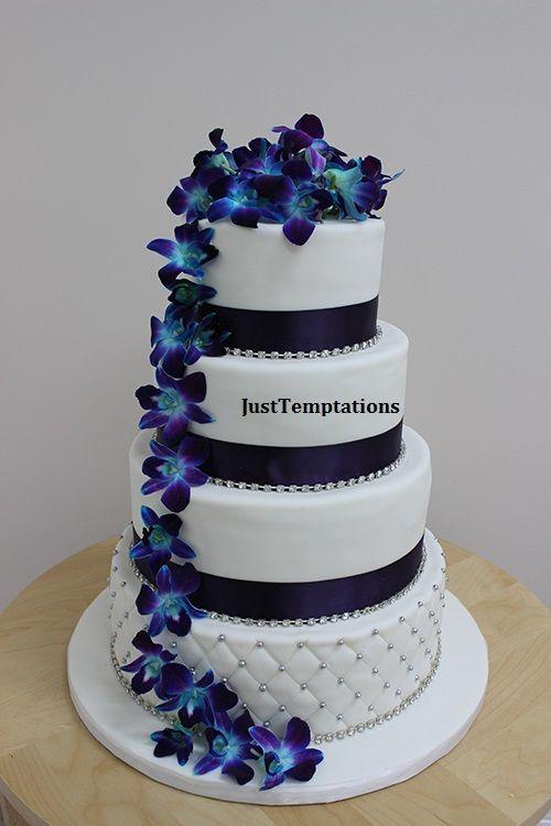 Blue Flower Themed Wedding Cake