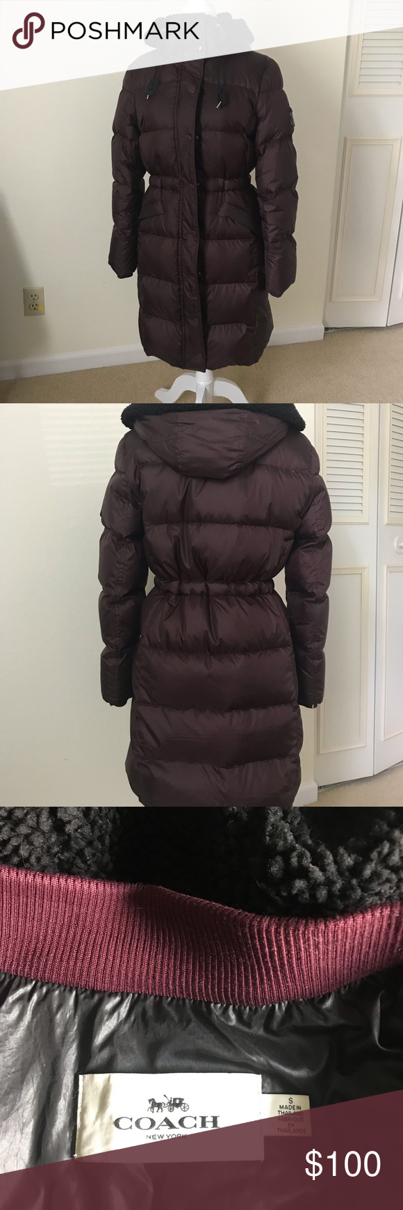Coach Puffer Long Maroon Down Puffer Coat By Coach Full Zip Hooded And Has Inner Draw Strings To Cinch Waist Down Puffer Coat Puffer Coat Clothes Design [ 1740 x 580 Pixel ]