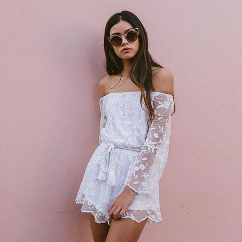 5d6e25f2d2dd White Off Shoulder Long Sleeve Lace Short Jumpsuit