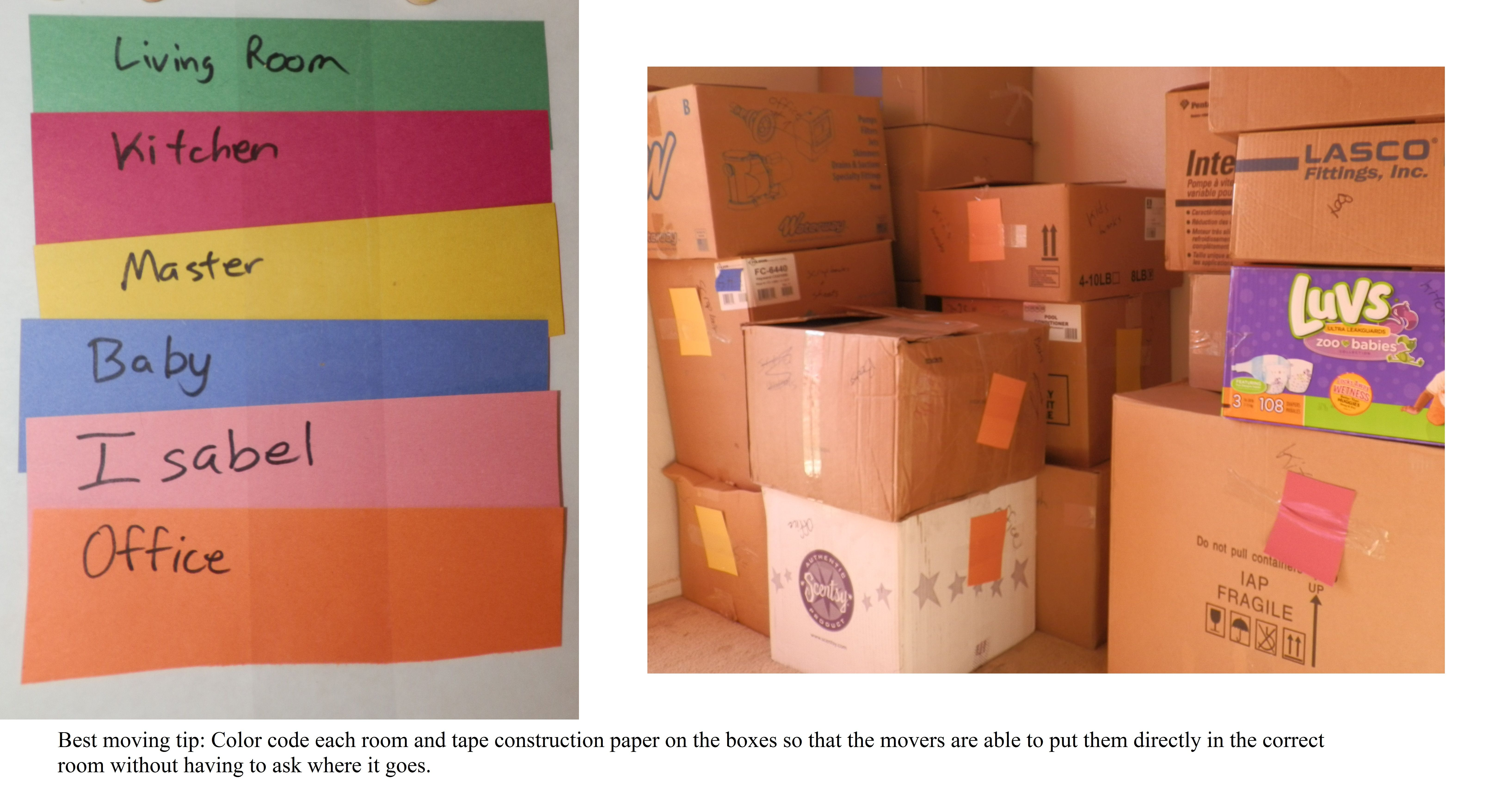 hight resolution of color coded boxes to rooms to make moving in easier