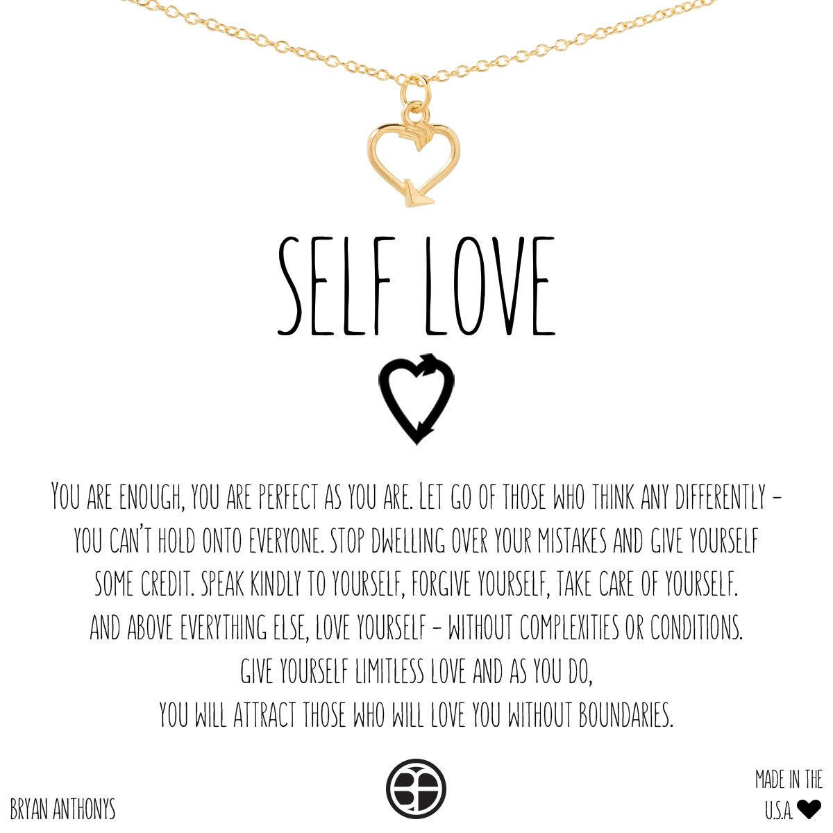 25862ff13c26 Bryan Anthonys Dainty Self Love necklace. A delicate arrow transforms into  a heart and is strung elegantly on a dainty chain. The arrow is  thoughtfully ...