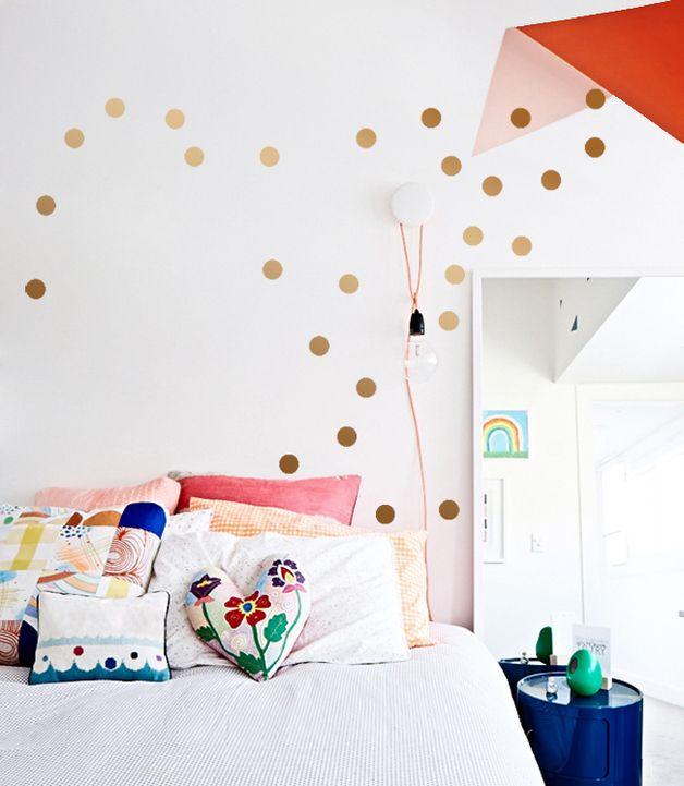 Kupfer Konfetti wandsticker punkte 90 kupfer konfetti dots a 5cm small spaces and