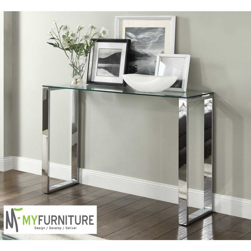Signature Console Hallway Table Glass Top Chrome Stand Miejsca