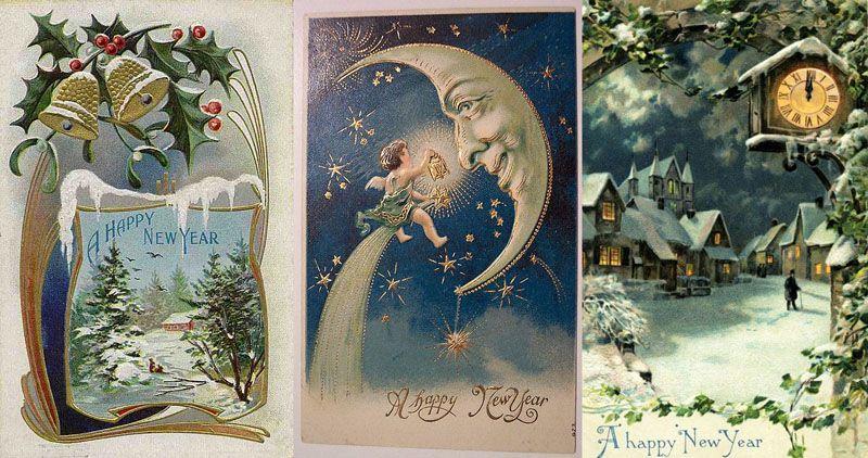 Красивые день, открытки с новым годом ретро русские