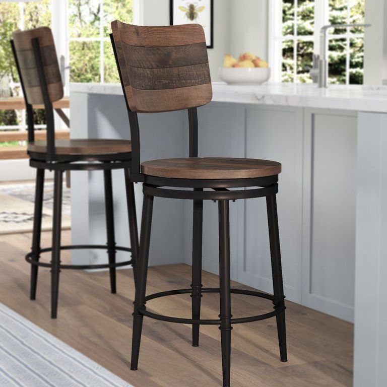 These Farmhouse Bar Stools Will Give Your Kitchen Joanna Gaines Vibes Farmhouse Bar Stools Swivel Bar Stools Kitchen Stools