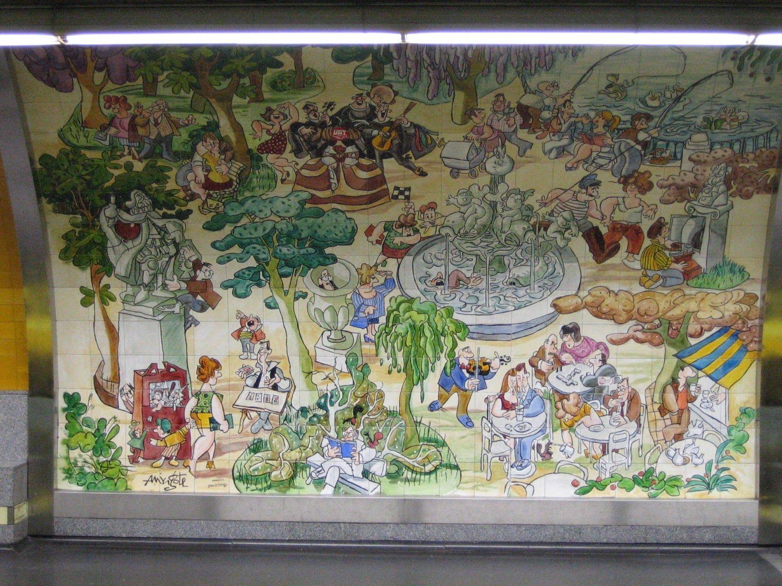 Metro. Estación de Retiro, andén dirección Cuatro Caminos. Pintado por Mingote