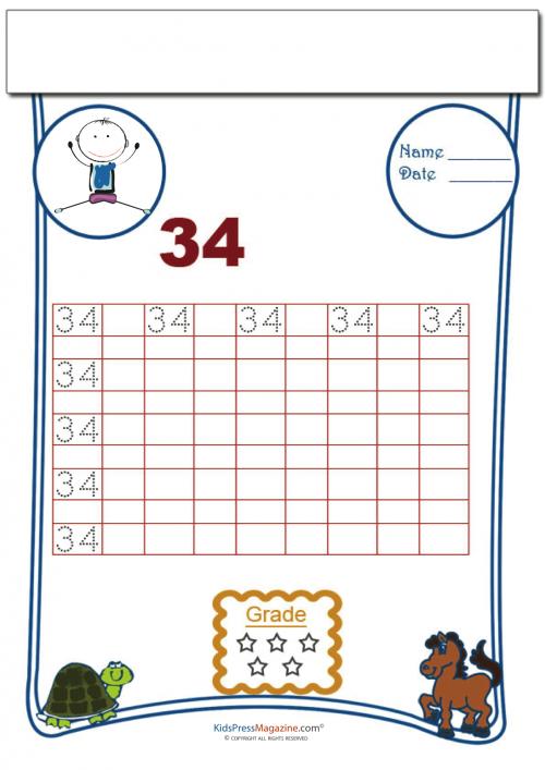 Printing Number 34 Kidspressmagazine Com Math Counting Worksheets Math Activities Preschool Math For Kids