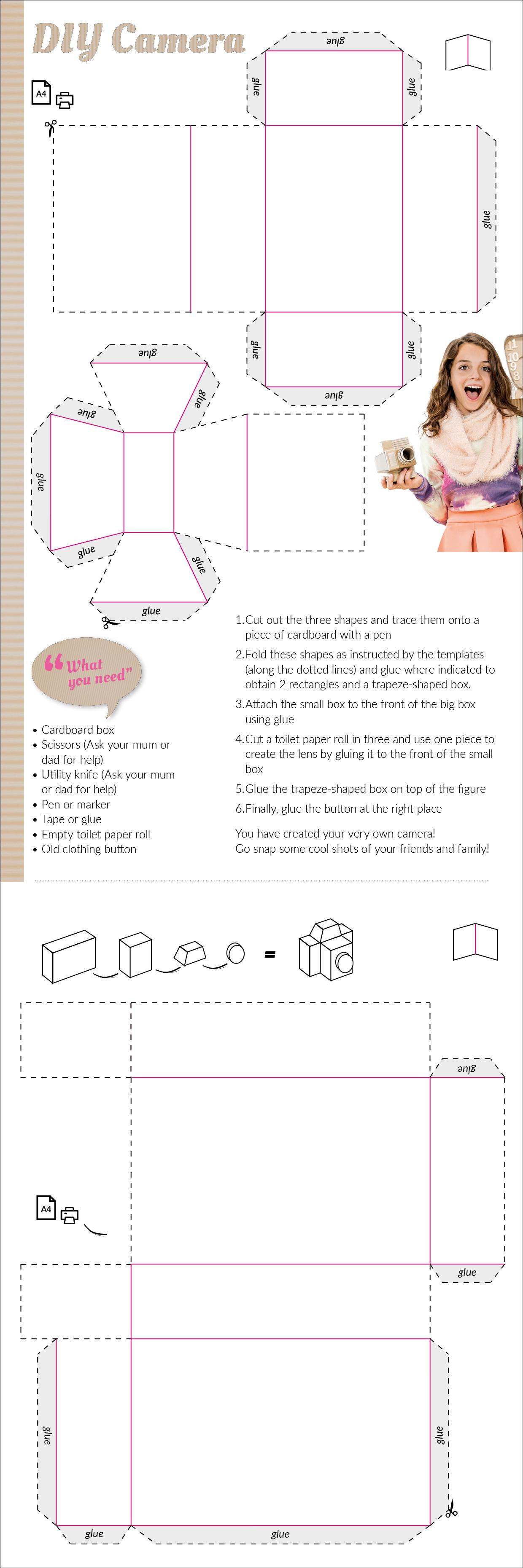 Cardboard camera template | paper camera | Pinterest | Template ...