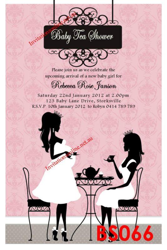 baby shower invitation high tea party invite pregnant l | baby, Baby shower invitations