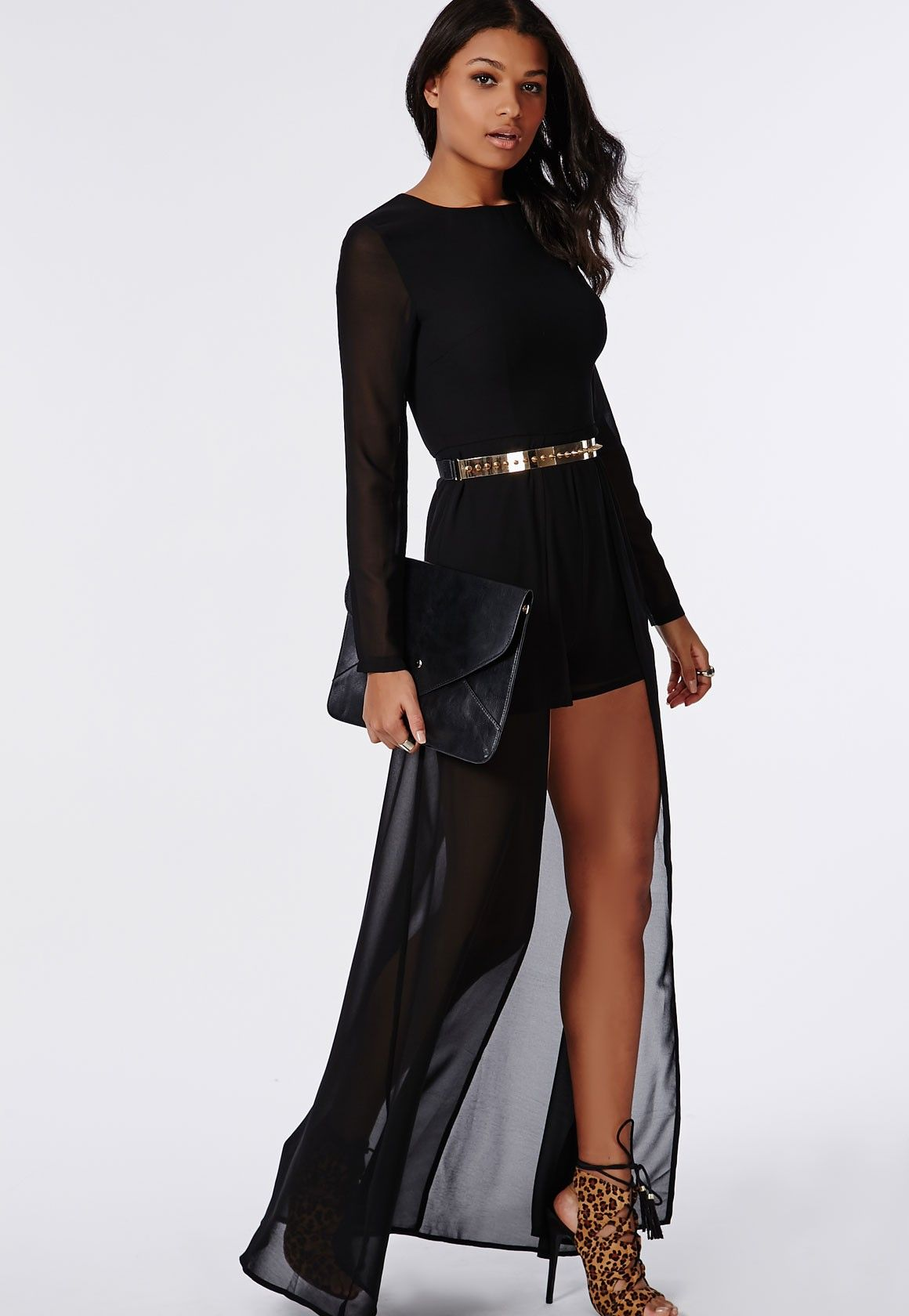 Missguided - Tina Chiffon Maxi Overlay Romper Black | Night Out ...