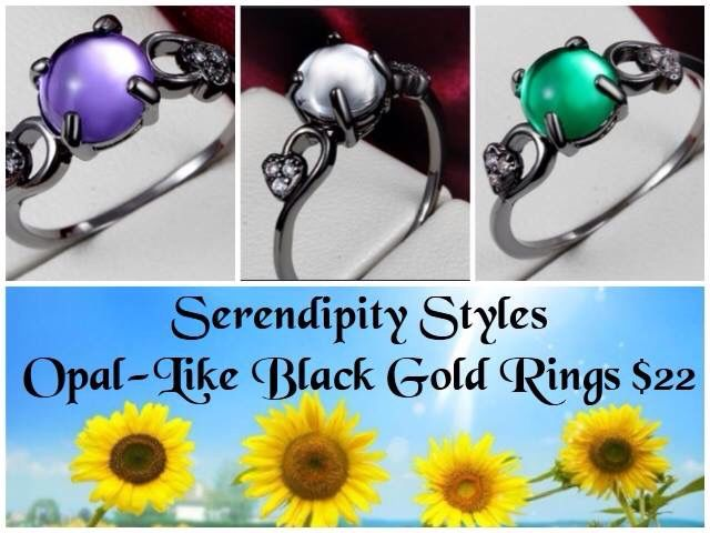 #New in my #SerendipityStyles store at www.shopserendipitystyles.com/#Kshumate. #Opal -Like #BlackGold #Rings !!!