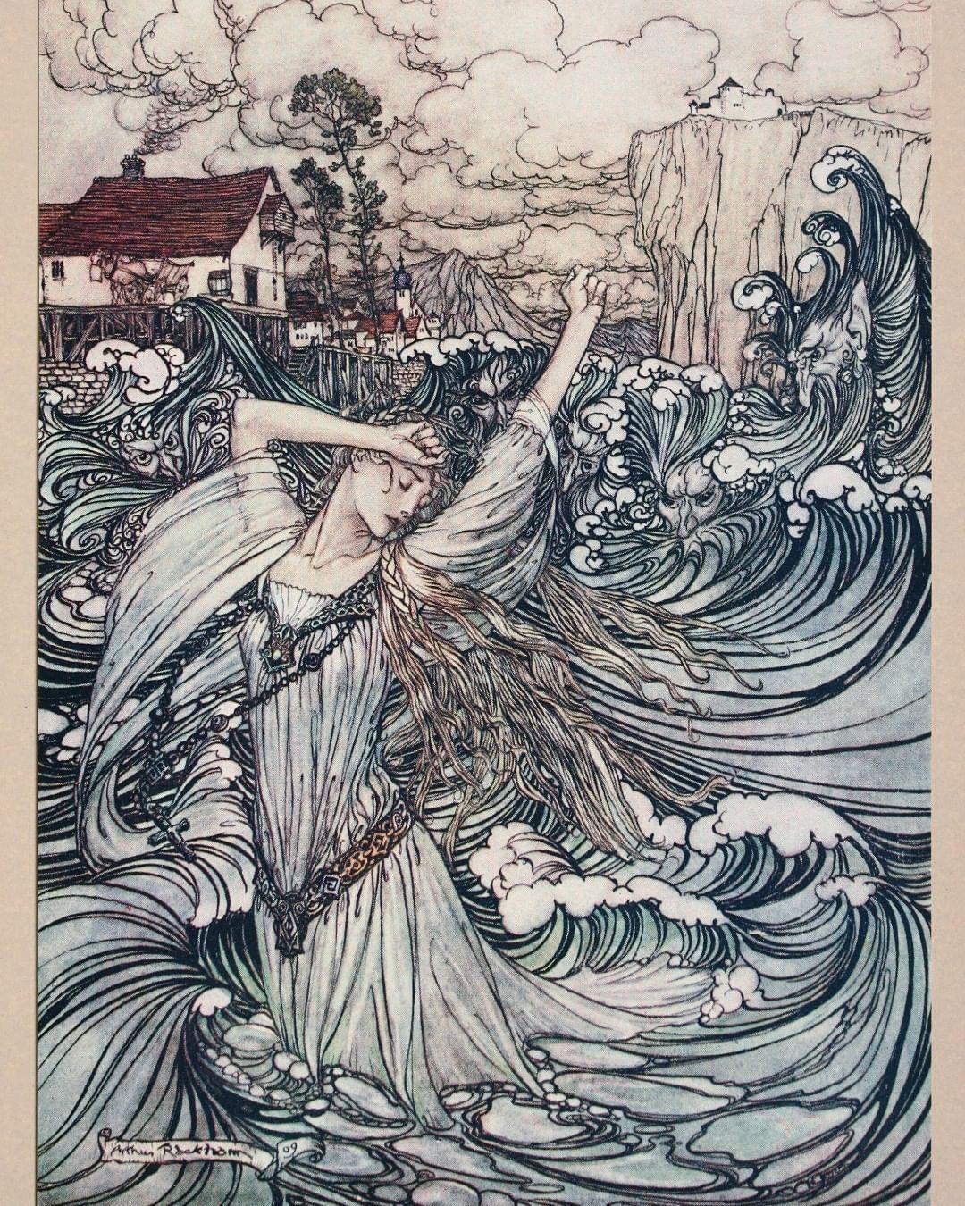 Curator Of The Past On Instagram From Undine By Friedrich De La Motte Fouque Illustrated By Arthur Rackham 1909 Undine Girl In 2020 Fantasy Art Fairytale Art Illustration Art