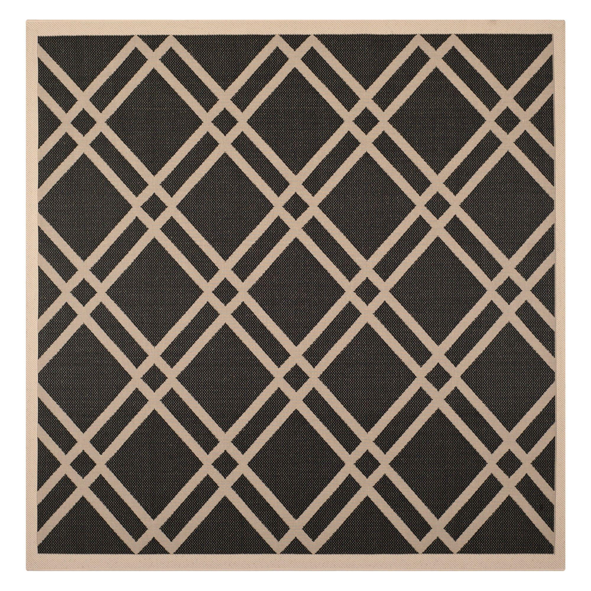 7 10 X7 10 Square Karwina Outdoor Patio Rug Black Beige Safavieh Patio Rugs Outdoor Rugs Patio Outdoor Rugs