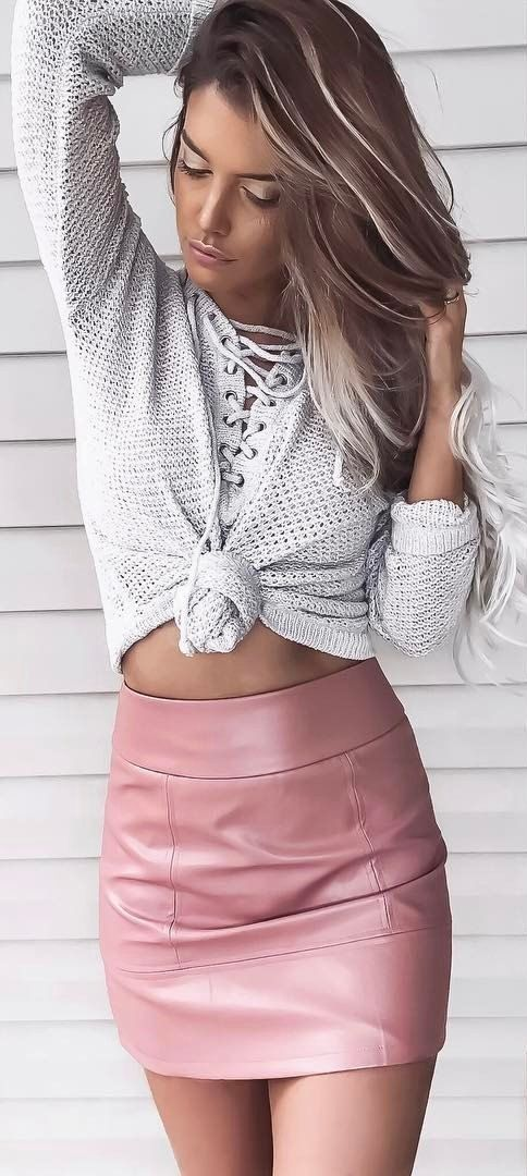 8c4a5628ac7f4  spring  outfits White Laced Crop Knit + Pink Leather Skirt