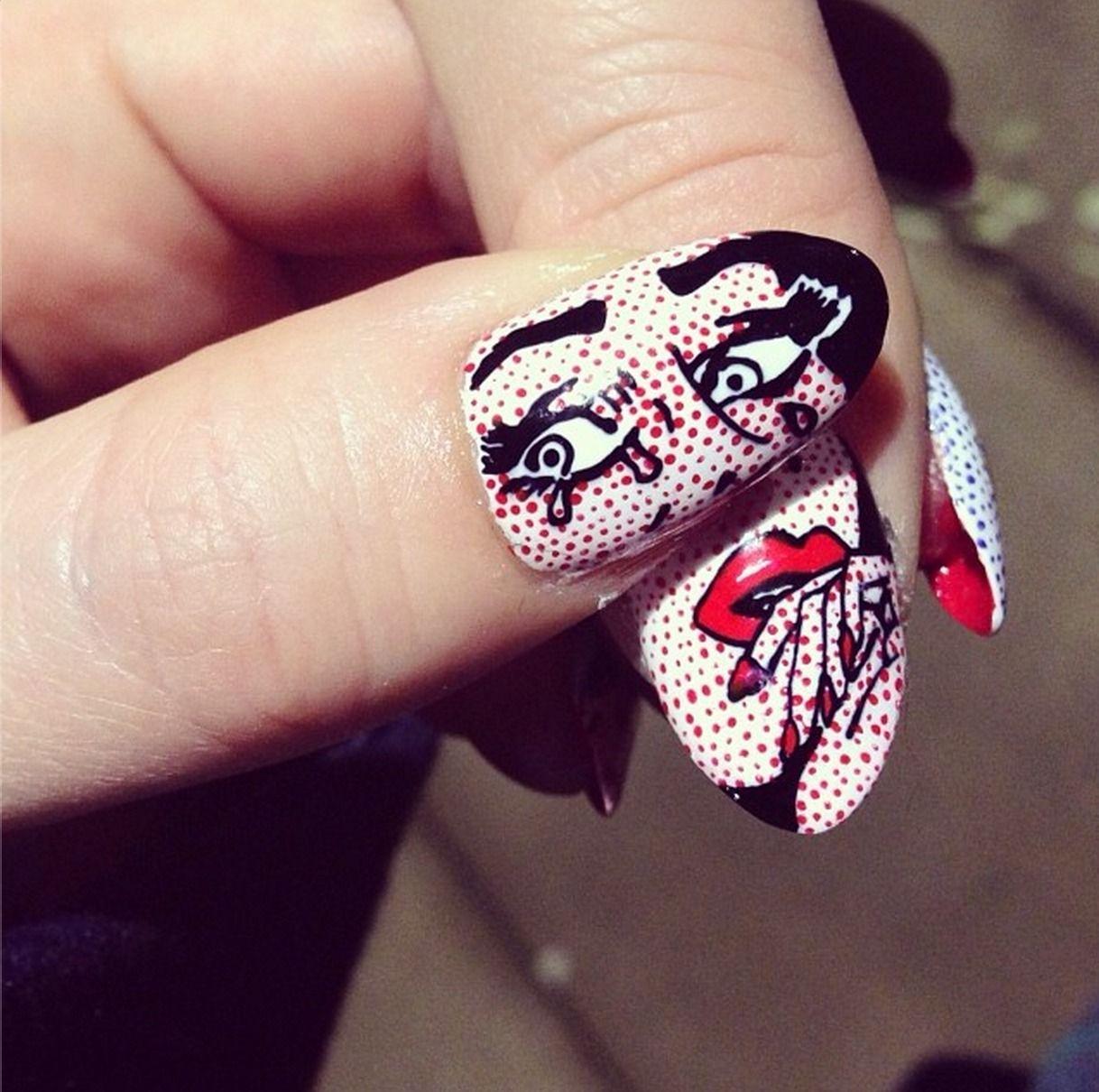 Lichtenstein crying girl boom nails nail art design
