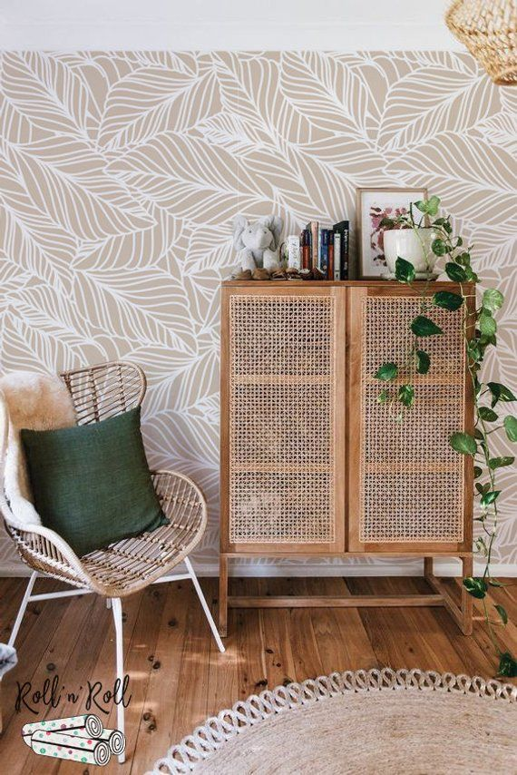 Photo of Leaf pattern wallpaper, Modern leaves, Foliage wall mural, Floral wallpaper #138