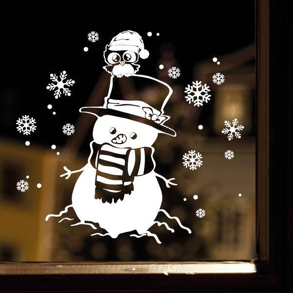 aufkleber fensterbild schneemann eule weihnachten von. Black Bedroom Furniture Sets. Home Design Ideas