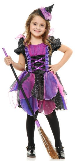 Purple Glitter Witch Kids Costume