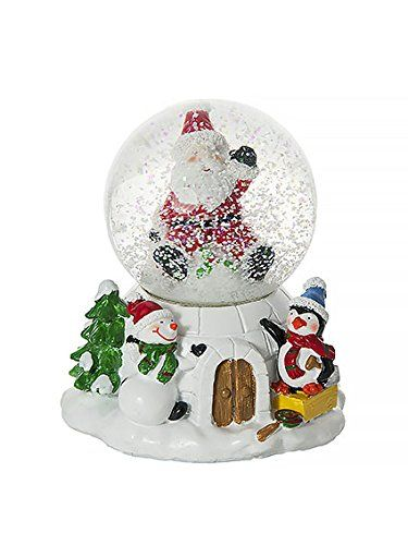 musical penguin snowman father christmas snow globe water ball decoration and gift