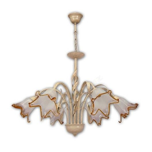 Lámpara estilo rústico seis luces crema tulipas cristal