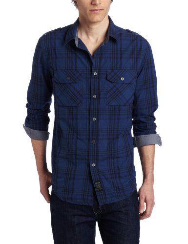 Calvin Klein Jeans Men's Saturated Long Sleeve Plaid Shirt, Ink Spot Blue, X-Large $69.50
