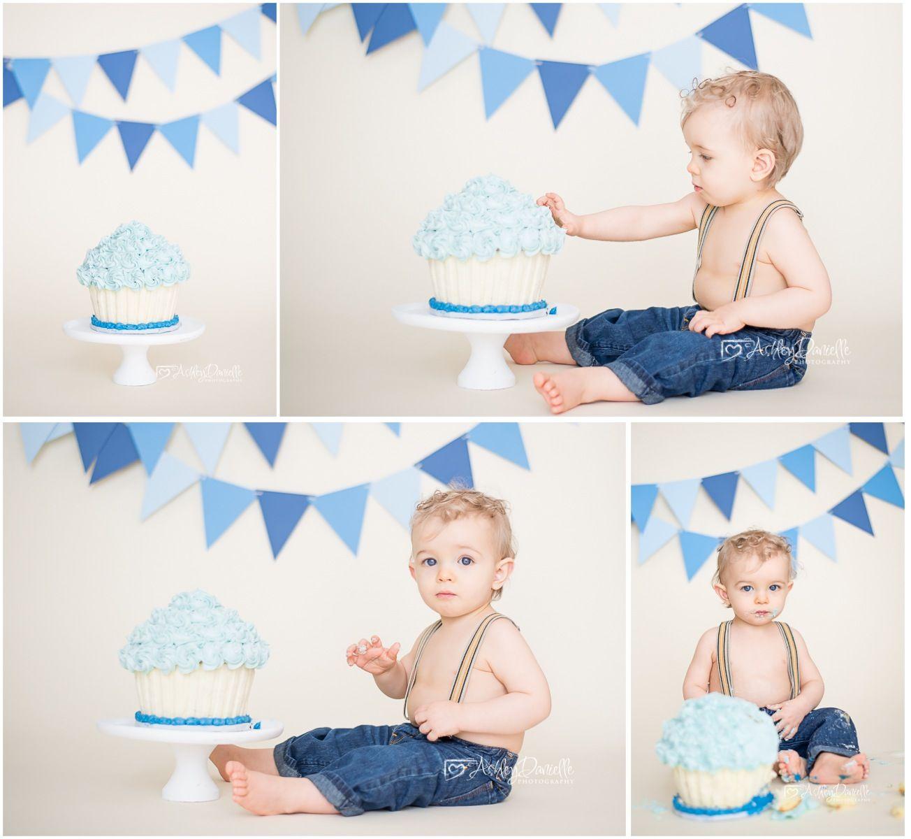 Boy cake smash session, blue and white cake smash, cake smash and splash photo, simple cake smash photo shoot, giant cupcake cake, Ashley Danielle Photography: Seattle Baby Photographer | Maple Valley, WA