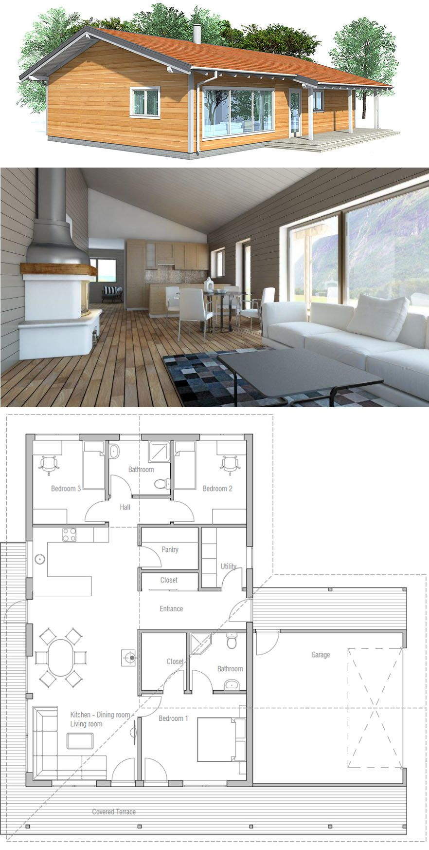 Small House Plan Single Story Home Plan Small House Design House Layouts Small House Plans