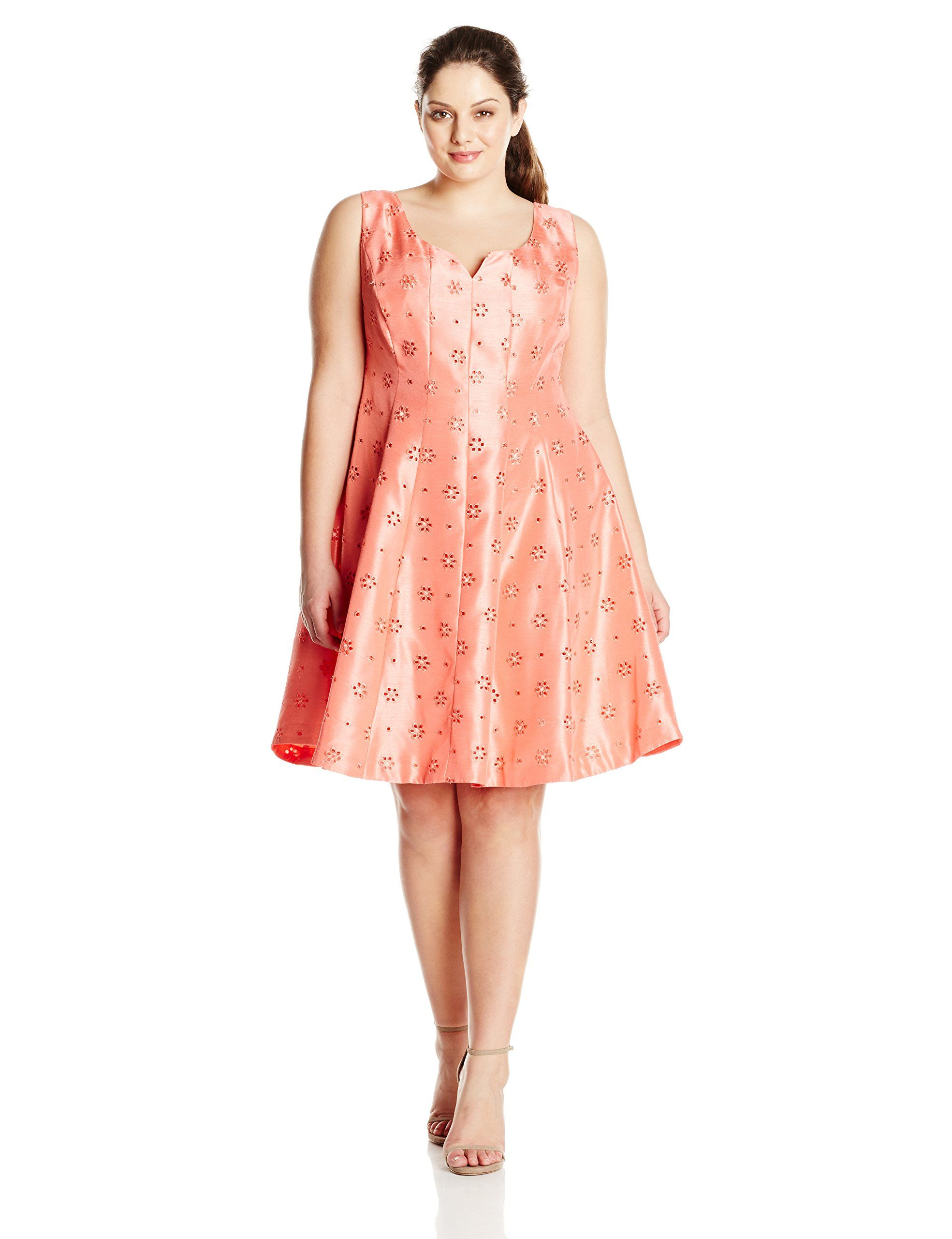 Plus size coral dress for wedding  Taylor Dresses Womens PlusSize Fit and Flare Shantung Eyelet Coral